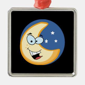 Smiling moon Silver-Colored square ornament