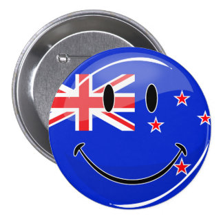 Smiling New Zealand Flag 3 Inch Round Button