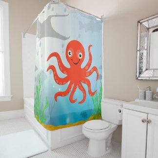 Smiling Octopus Undersea Shower Curtain