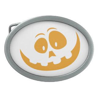 Smiling Orange Jack 'O Lantern Halloween Pumkin Belt Buckle
