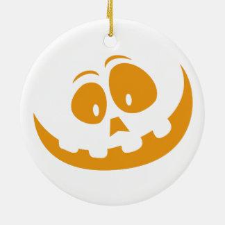 Smiling Orange Jack 'O Lantern Halloween Pumkin Ceramic Ornament