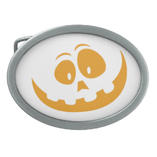 Smiling Orange Jack 'O Lantern Halloween Pumkin Oval Belt Buckles
