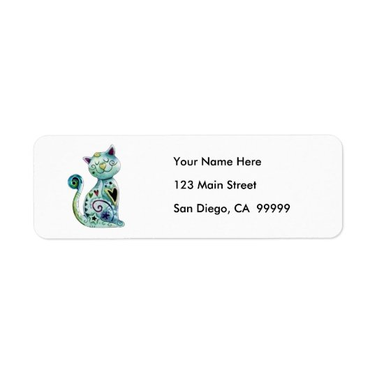 Smiling Painted Cat with Hearts Return Address Label