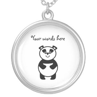 Smiling panda bear silver plated necklace