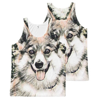 Smiling Pembroke Welsh Corgi All-Over-Print Tank Top