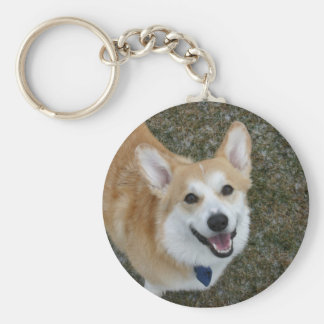 Smiling Pembroke Welsh Corgi Basic Round Button Keychain