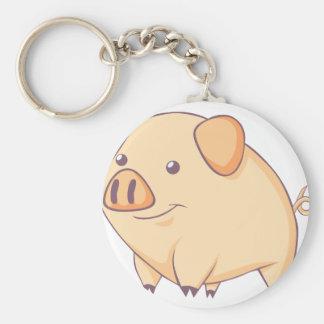 Smiling Pig Basic Round Button Keychain
