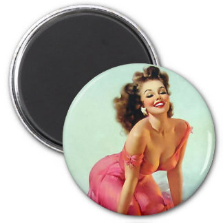 Smiling Pin Up 2 Inch Round Magnet