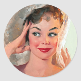 Smiling Pin Up Classic Round Sticker
