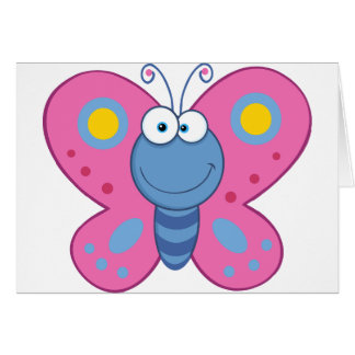 Smiling Pink Butterfly Note Cards