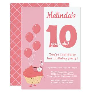 Smiling Pink Cupcake Birthday | Invitation