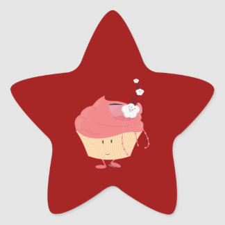 Smiling pink cupcake with flowered branch topping stickers