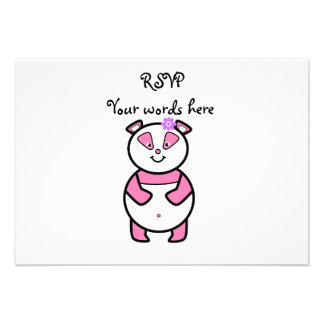Smiling pink panda personalized announcement