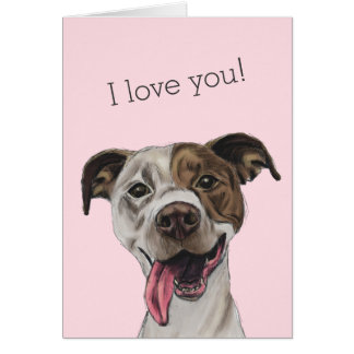Smiling Pit Bull Dog Drawing Card