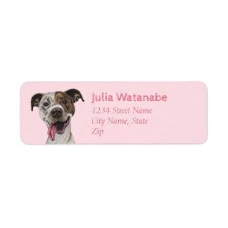 Smiling Pit Bull Dog Drawing Return Address Label
