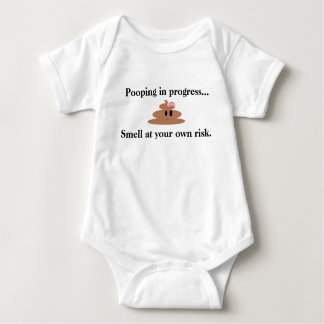 Smiling Poop with Ribbon Baby Bodysuit for Girls