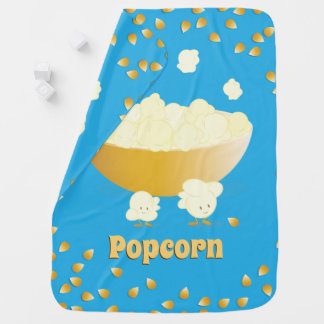 Smiling Popcorn and Bowl | Baby Blanket