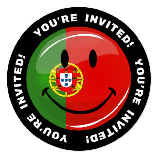 "Smiling Portuguese Flag 5.25"" Square Invitation Card"