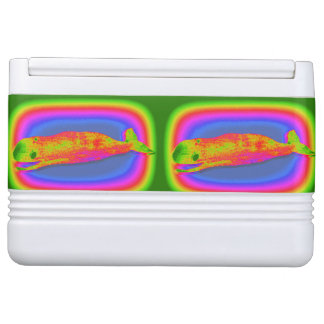 """smiling psychedelic whales beverage cooler"""""""