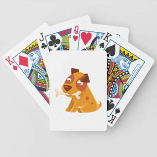 Smiling Puppy Holding A Bone In The Mouth Bicycle Playing Cards
