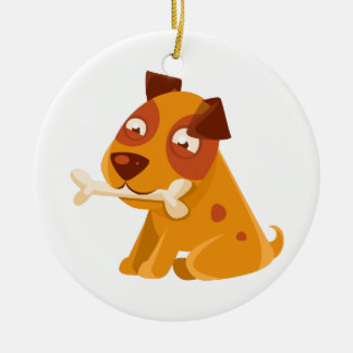 Smiling Puppy Holding A Bone In The Mouth Ceramic Ornament