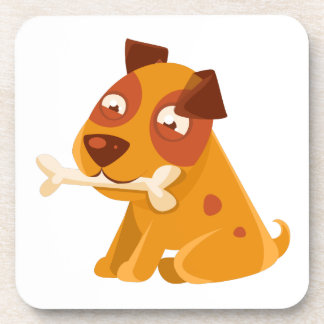 Smiling Puppy Holding A Bone In The Mouth Coaster