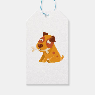 Smiling Puppy Holding A Bone In The Mouth Gift Tags