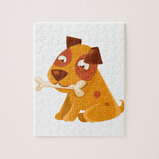 Smiling Puppy Holding A Bone In The Mouth Jigsaw Puzzle
