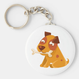 Smiling Puppy Holding A Bone In The Mouth Keychain