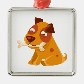 Smiling Puppy Holding A Bone In The Mouth Metal Ornament