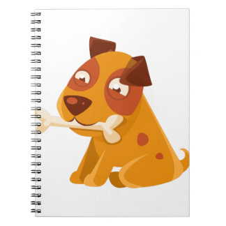Smiling Puppy Holding A Bone In The Mouth Notebook