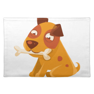 Smiling Puppy Holding A Bone In The Mouth Placemat
