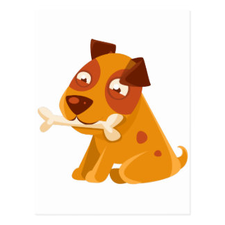 Smiling Puppy Holding A Bone In The Mouth Postcard