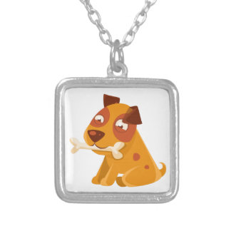 Smiling Puppy Holding A Bone In The Mouth Silver Plated Necklace