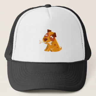 Smiling Puppy Holding A Bone In The Mouth Trucker Hat