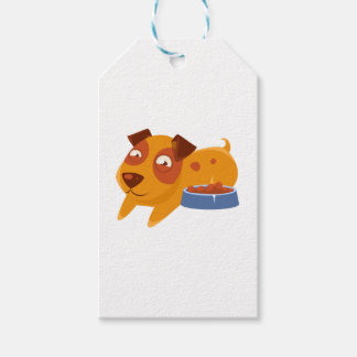 Smiling Puppy Next To Bowl Full Of Biscuits Gift Tags
