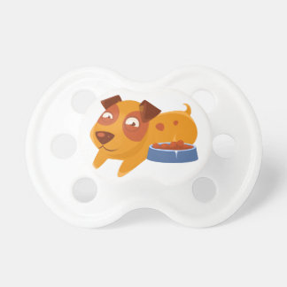 Smiling Puppy Next To Bowl Full Of Biscuits Pacifier