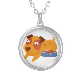 Smiling Puppy Next To Bowl Full Of Biscuits Silver Plated Necklace