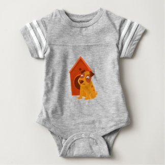 Smiling Puppy Next To Wooden Kennel Baby Bodysuit