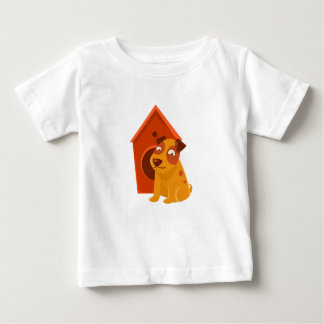 Smiling Puppy Next To Wooden Kennel Baby T-Shirt