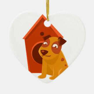 Smiling Puppy Next To Wooden Kennel Ceramic Ornament