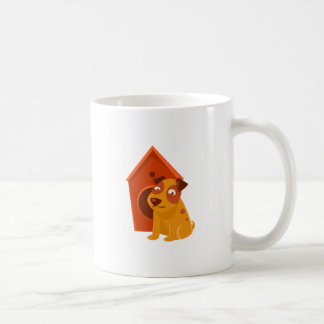 Smiling Puppy Next To Wooden Kennel Coffee Mug