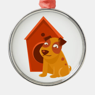 Smiling Puppy Next To Wooden Kennel Metal Ornament