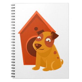 Smiling Puppy Next To Wooden Kennel Notebook
