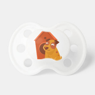 Smiling Puppy Next To Wooden Kennel Pacifier