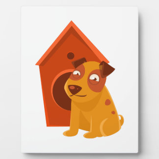 Smiling Puppy Next To Wooden Kennel Plaque