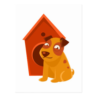 Smiling Puppy Next To Wooden Kennel Postcard