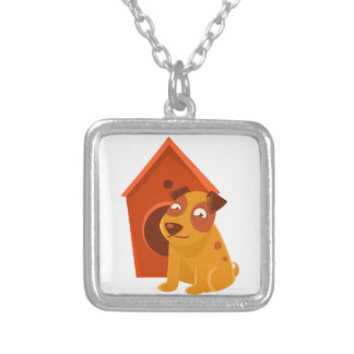 Smiling Puppy Next To Wooden Kennel Silver Plated Necklace