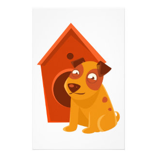 Smiling Puppy Next To Wooden Kennel Stationery