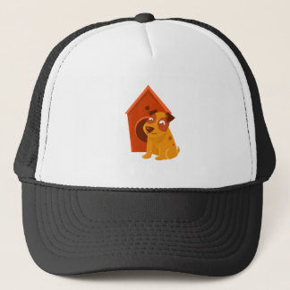 Smiling Puppy Next To Wooden Kennel Trucker Hat